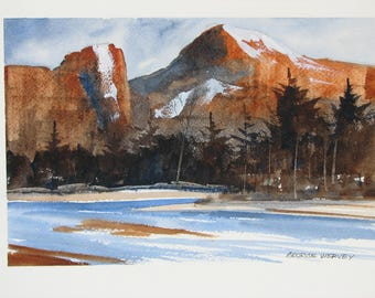 Mountain watercolor painting, landscape artwork, river, stream, #126