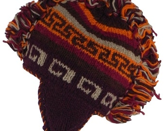 Nepalese Hippy Boho Wool Mohawk Over the Ear Hat with Fleece Lining Rust | Hippie Boho | Festival Hat | NW37 No.2 | POS: D5/5