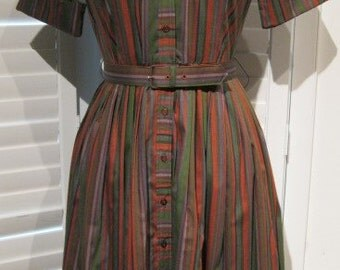 Vintage 1950s-1960s Diane Carter Original Striped Shirtwaist Dress with Peter Pan Collar Size Small