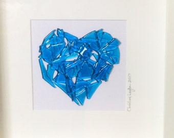Glass Heart Picture, Glass Wall Hanging, Glass Art, Home decor, Wall Art, Gift for her, Gift for them, Wedding Gift,  Valentines     17/14