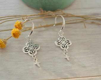 Silver cross earrings, Contemporary 925 Silver dangle earrings, boho/ bohemian rock earrings, free people style earrings, 925 silver jewelry