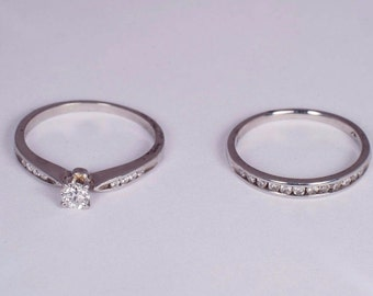 Platinum 2 Piece Engagement/Wedding Set with app .50ct. tw. Diamonds ,size 7