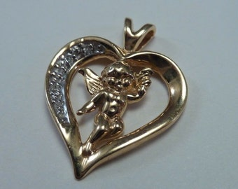 14K Yellow Gold Heart Shaped Pendant with Cupid and Diamonds