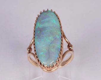 14K Yellow Gold 1960s Large Oblong Opal Ring size 5.5