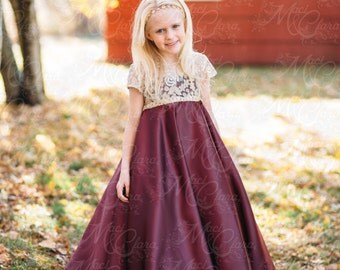 Couture Girls Babies Formal Gown Dress Glold Lace Vintage Size NB-8 Custom Flower Girl