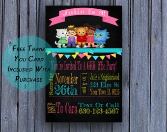 Girls Daniel Tiger Birthday Invitation, Girls Daniel Tiger Birthday Invite, Printable Downloadable Digital, First Birthday, Free Thank You
