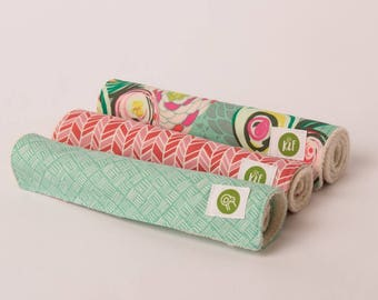 Floral Burp Cloths with Organic Sherpa