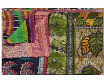 Ethnic Floral Design ,Vintage Kantha Quilt ,One of Kind,Reversible Twin Size Quilt ,Indian Handmade ,Throw Quilt #1004