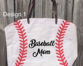 "Custom Baseball Tote Bag // ""Baseball Mom"" Canvas Tote with Last Name or Number // Baseball Mom Bag // Baseball Tote // Baseball Stitch Bag"