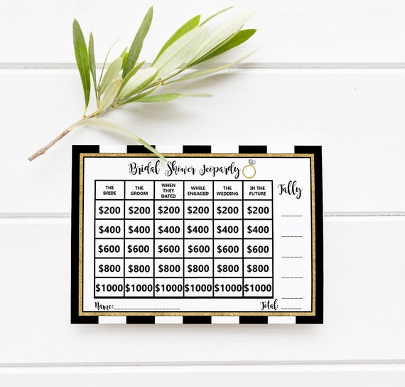 Clever Jeopardy Categories: Jeopardy Bridal Shower Game With Categories Printable Party