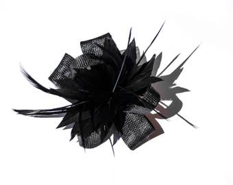 Black Classic Feather Flower Fascinator Clip and Brooch