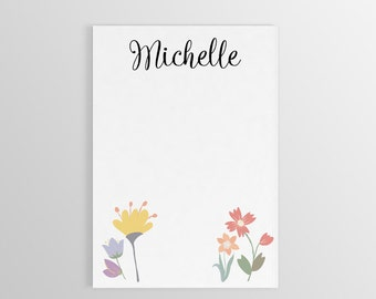 Personalized Flower Notepad ~ Personalized Flower Stationary ~ Name Notepad ~ Custom Gift ~ To Do List ~ Teacher Gift ~ Personalized Gift