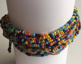 Multicolour Adjustable Bead Bracelet