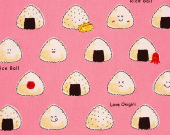 Onigiri, Musubi, Rice Ball patterned Oxford Fabric made in Japan by the Half Yard