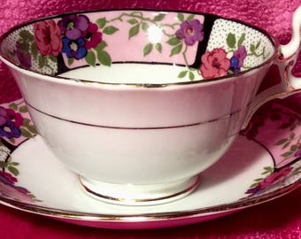 Pretty in Pink  Aynsley Art Deco Teacup and Saucer