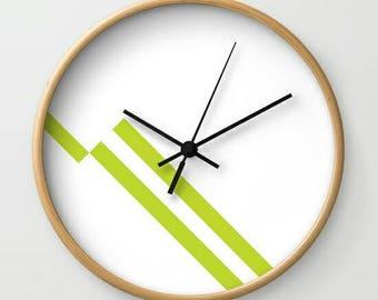 Wall Clock Scandinavian Lines Wood Black Lime Green Modern Custom Customizable Minimalist