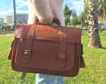 Leather Messenger Bag Women, Leather Briefcase Women, Brown Messenger Bag, 15'' Laptop Bag, Leather Laptop Bag, Made in Greece.