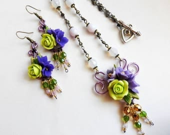 Adornment with a necklace and earrings