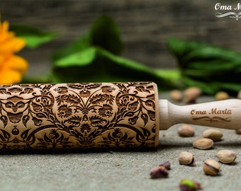 Fruits Tree embossing rolling pin.Wooden gift.Fruit pattern laser engraved rolling pin.Womens gift.Gift for her.Birthday gift for mom.