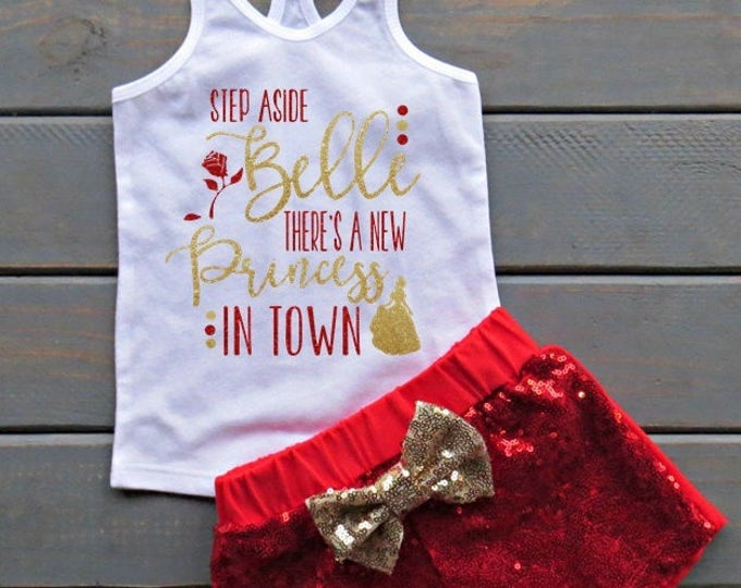 Princess Belle Outfit, Beauty and The Beast Outfit, Sequin Shorts, Princess Outfit, Girls' Birthday, Baby's First Birthday