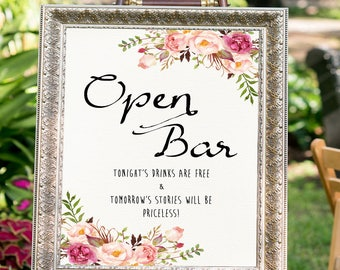 Open Bar Sign Bar Decor Floral Wedding Sign Printable Wedding Sign Open Bar Wedding Floral Wedding Decor Reception Sign Bar Menu Sign