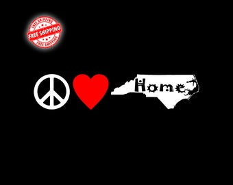 NC Decal, North Carolina Decal, NC, North Carolina, State Decal, Decals, Stickers, Car Decal, Window Decal, Home Decal, Peace, Laptop Decal