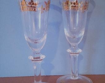 Vintage Gold Rimmed Wine Goblets