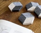 Geometric Felt Coasters (Set of 4) – Mod Illusion Design, Felt Tile, Felt Accessory, Modern Hex Coasters, Felt Decor, Trendy Minimalist