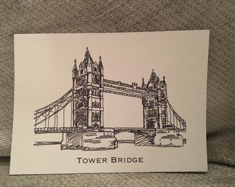 London Tower Bridge Blank Greeting Card