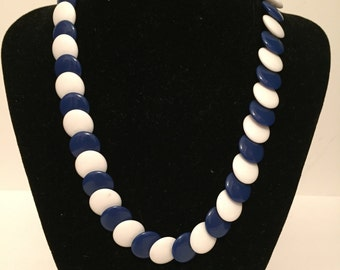 White and Blue Necklace - Lucite Necklace - Retro Necklace - Vintage Necklace