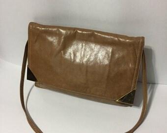 Genuine Leather Bag - Tan Leather - Vintage Leather Purse - Leather HandBag - Gold Accent - Shoulder Bag