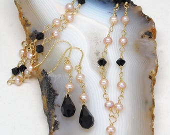 Natural fresh water pearls and Swarovski crystal jewelry set