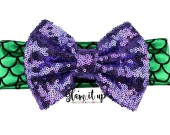 Mermaid Headband- sequin headband-Baby Headband-Toddler Headband- Hair Bows-messy bow headbands-headband