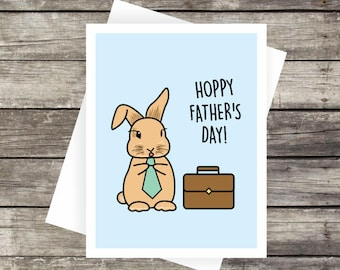 Hoppy Father's Day Greeting Card | Fathers Day Card, Blank Card, Bunny Card