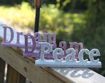 Serene Decor - Glitter Coated Wooden Signs, Multiple Colors, Words - Dream, Relax