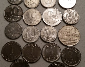 27 brazil vintage coins 1957 - 1988 - coin lot centavos cruzeiros cruzado - world foreign collector money numismatic a104