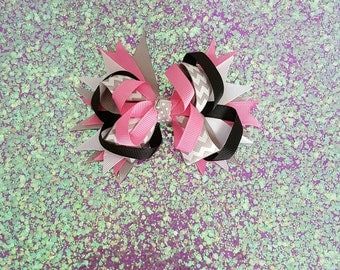 Pink ,Grey and Black Stacked Hair Bow
