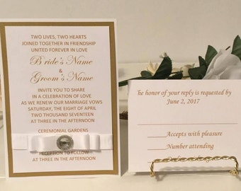 Gold & White Invitation Set For Wedding/Birthdays/Holidays/50th Anniversaries - Response Cards and Envelopes Included
