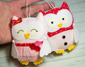 Owl ornament Girlfriend gift Baby shower theme Valentines gift Kawaii gift Pink red owl nursery decor Stuffed animals Wife gift Owl figurine
