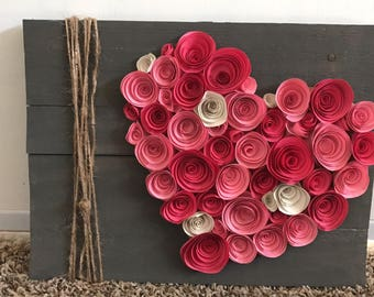 Paper flower wall hanging