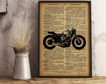 Motorcycle Print, Motorcycle Illustration Dictionary Page, Cotton Canvas Print, Vintage Motorcycle Poster, Classic Motorcycle Print (M02)