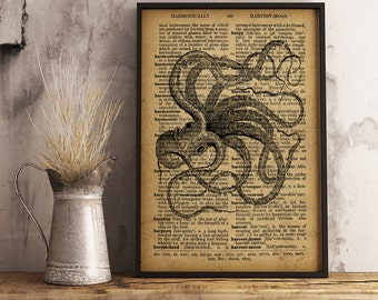 Octopus print Nautical decor Sea life poster Nautical Wall Art, Octopus poster marine life Ocean Decor (R05)