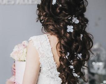 Wedding flowers hair vine Bridal hair crystal vine Pearl hair accessories  Pearl crystal vine Wedding hairpiece  Bridal hair vine