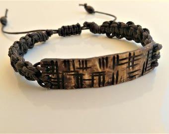 Men's bracelet, tribal bracelet, Coconut and waxed cotton bracelet, macrame bracelet, wood bracelet, gifts for him,