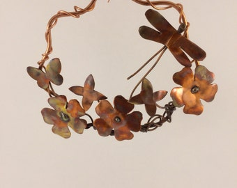 Copper wreath with dragonfly & butterfly