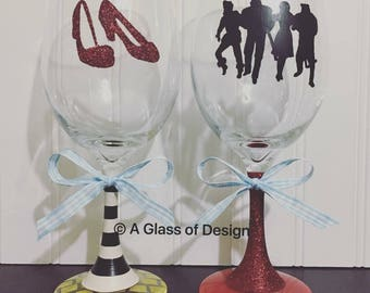 Wizard of Oz glass, hand painted glasses, Dorothy handmade, wine glasses, gifts, retro gifts, glittered, birthday gifts, christmas gifts, oz