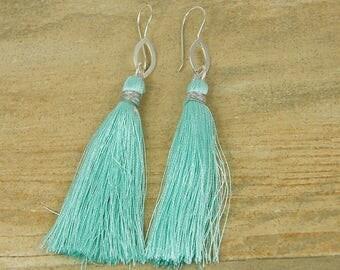 Aqua Tassel Earrings, Aqua Fringe Earrings, Aqua Silver Dangle Earrings, Silver Oval Aqua Drop Earrings Thread Earrings |EB1-34