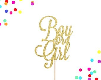 Boy or Girl Cake Topper | Gender Reveal Cake Topper | Customize to Any Colour | Baby Shower Cake Topper | He or She Cake Topper