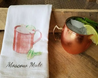 Moscow Mule Tea Towel- Moscow Mule - Tea Towel - Bar Towel - Farmhouse Kitchen - Tea Towel- Kitchen Decor - Cotton Blossom Studio