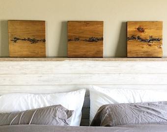Reclaimed Wood Lichtenberg Figure Wall Art - Three Piece Fractal Wall Hanging Set